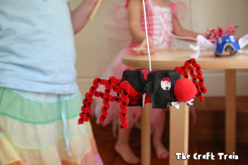 Egg carton spider puppets for Halloween