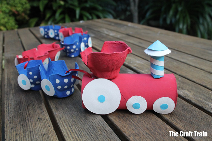 egg carton train craft red and blue