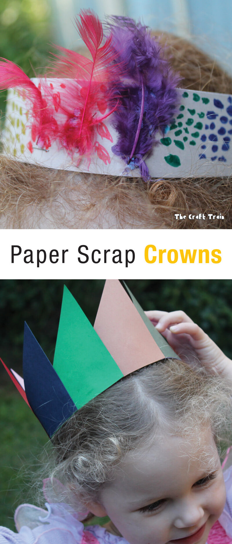 Paper scrap crowns are an easy paper craft idea for preschoolers, perfect for making use of paper off cuts #papercraft #kidscraft #papercrown #diycrown #constructionpaper