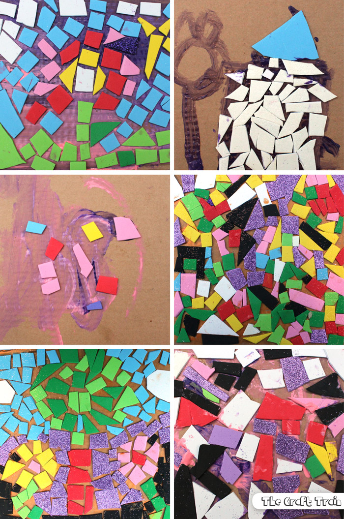 Easy foam mosaics for kids