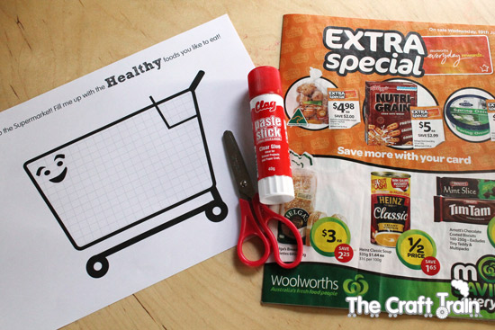 Healthy eating fill a trolley activity