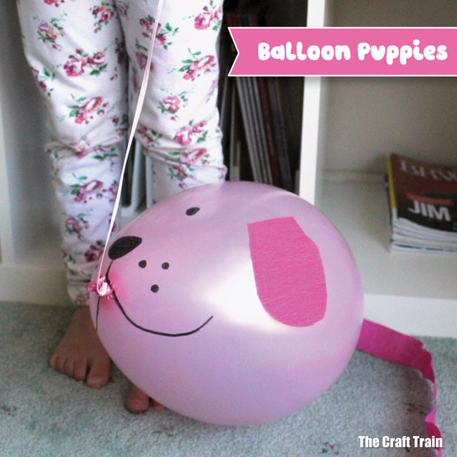 Balloon puppies: Make cute puppies from balloons by decorating balloons to look like pups. This is a simple and fun puppy craft for kids #dog #puppy #balloon #kidscraft
