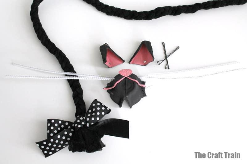 finished egg carton black cat costume DIY