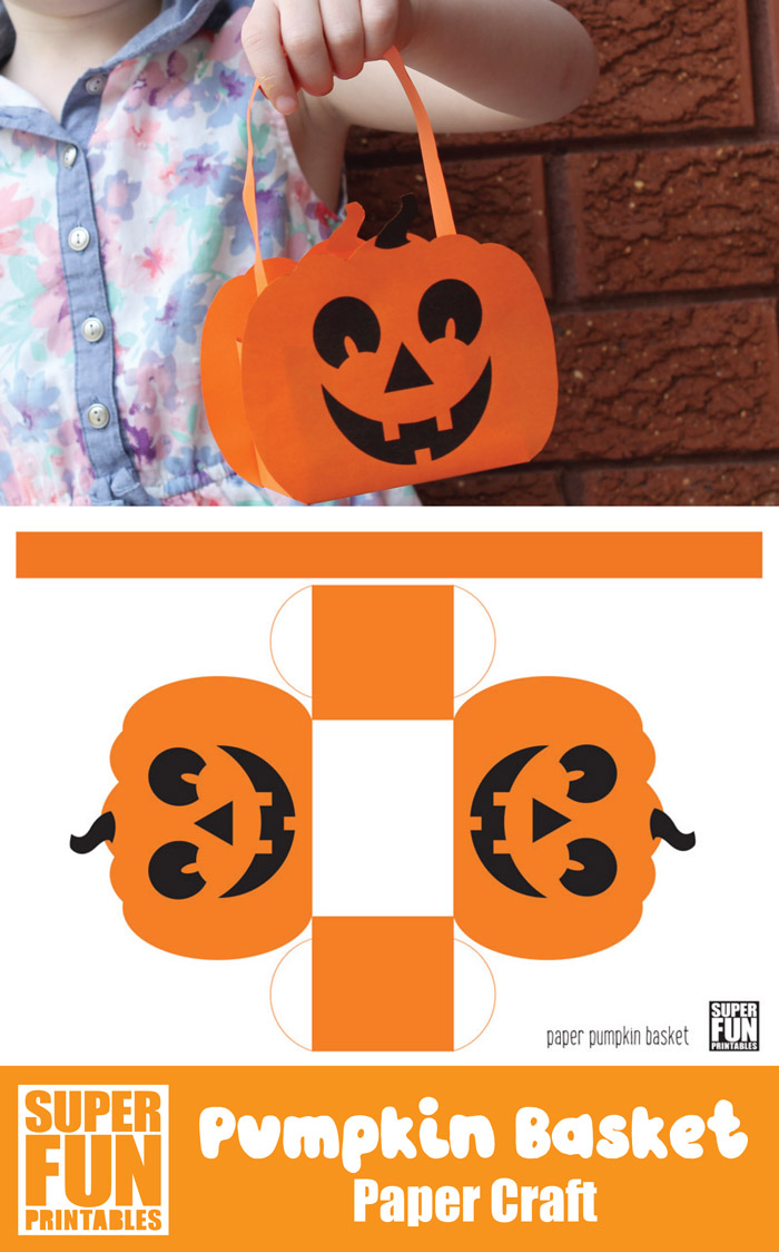 Make a paper pumpkin basket for Halloween. This is a fun and easy paper craft for kids #papercrafts #kidscrafts #kidsactivities #superfunprintables #pumpkin #Autumn #fall