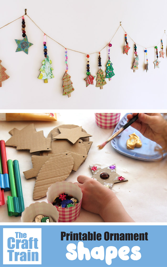 Printable CHristmas ornament shapes. Print, trace onto card and decorate – such a fun and easy Christmas craft for kids of all ages