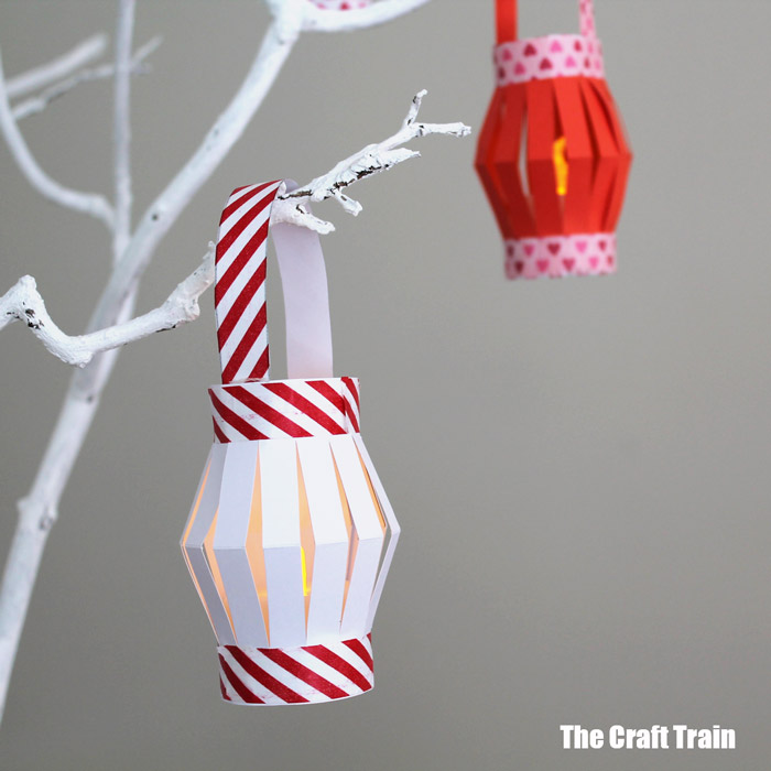 mini paper lanterns with printable template