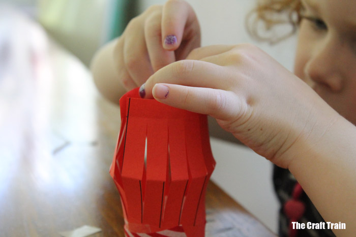 making paper lanterns with kids