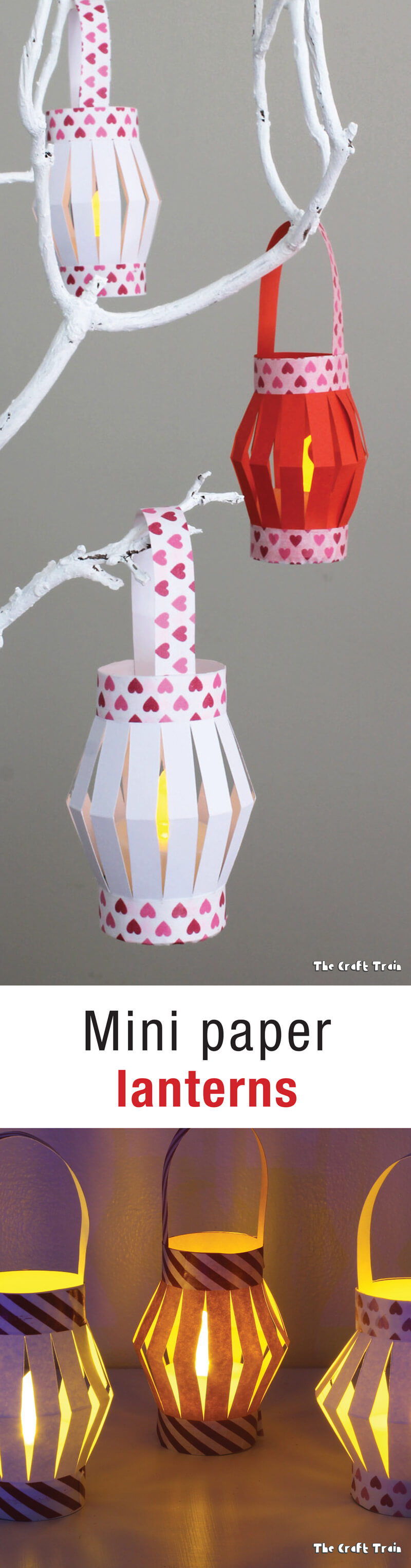 Mini paper lanterns with printable template. These are great for cutting practice and fine motor skills for kids.