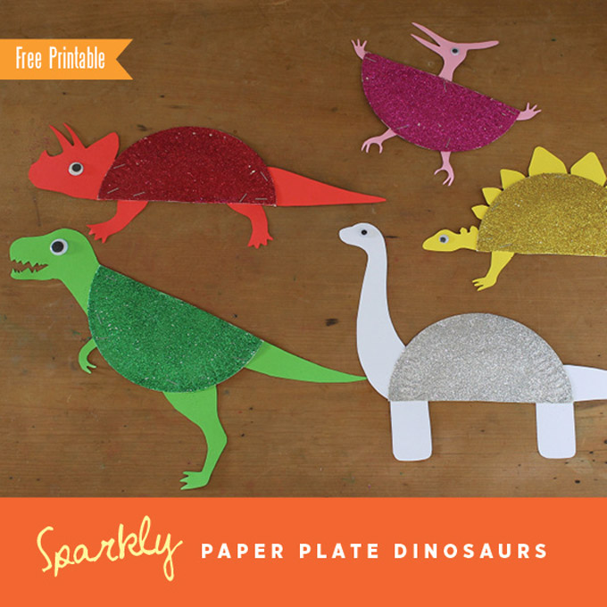 Sparkly paper plate dinosaurs by the craft train for Dinosaur crafts for toddlers