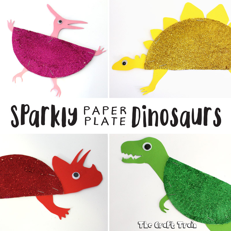 Sparkly paper plate dinosaurs the craft train for Dinosaur crafts for preschool