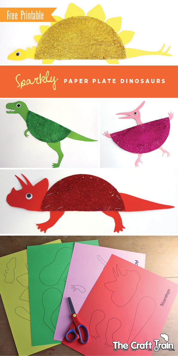 3 sparkly paper plate dinosaurs for Pin the tail on the dinosaur template