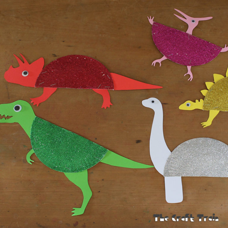 Sparkly Paper Plate Dinosaurs