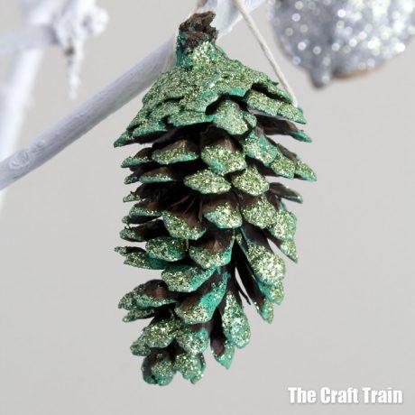 glitter pine cone ornament