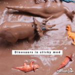 "Dinosaurs in sticky mud from Asia Citro's book ""150+ Screen-free activities for kids"""