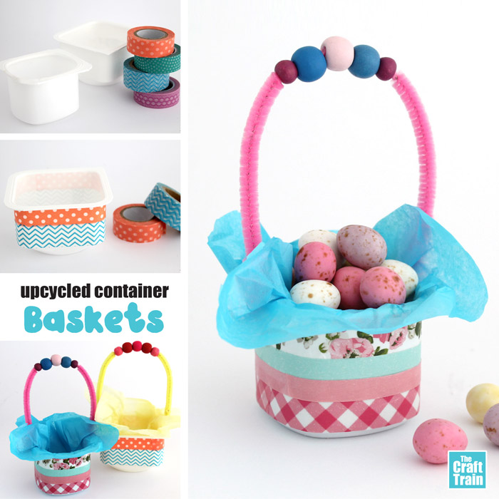 how to make an upcycled yoghurt pot easter basket