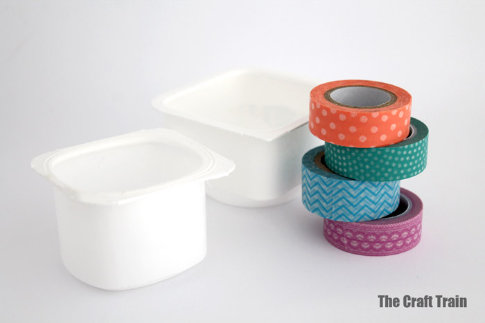 supplies needed to make washi tape yoghurt pot baskets