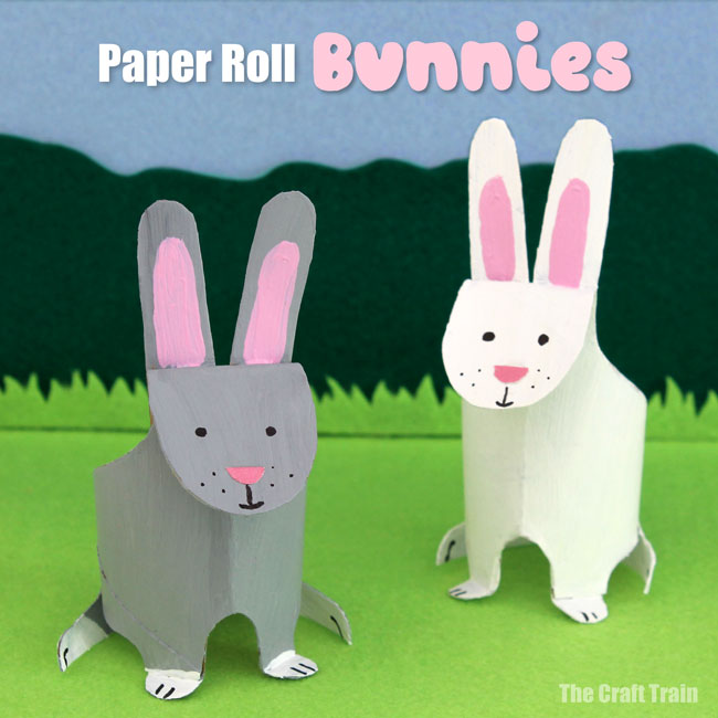 Paper roll bunny Easter craft for kids. Use our printable template to create cute realistic looking bunnies for Spring, Easter or even Earth Day by upcycling a paper roll #bunnycraft #bunny #easter #spring #kidscraft #earthday #animalcraft #paperroll #toiletroll #kidsactivities