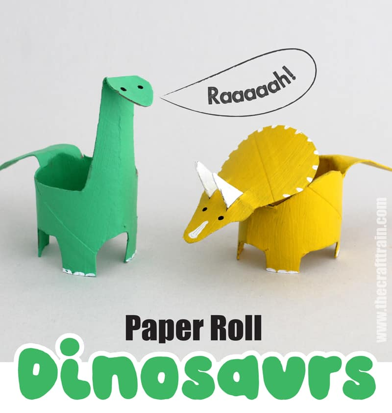 paper roll dinosaur craft for kids. Make a pair of toilet roll dinosaurs using our free printable pattern