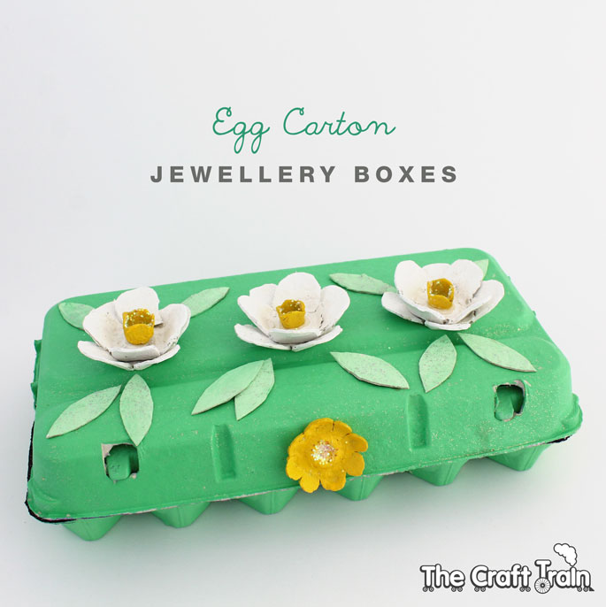 Egg Carton jewellery box topped with egg carton flowers