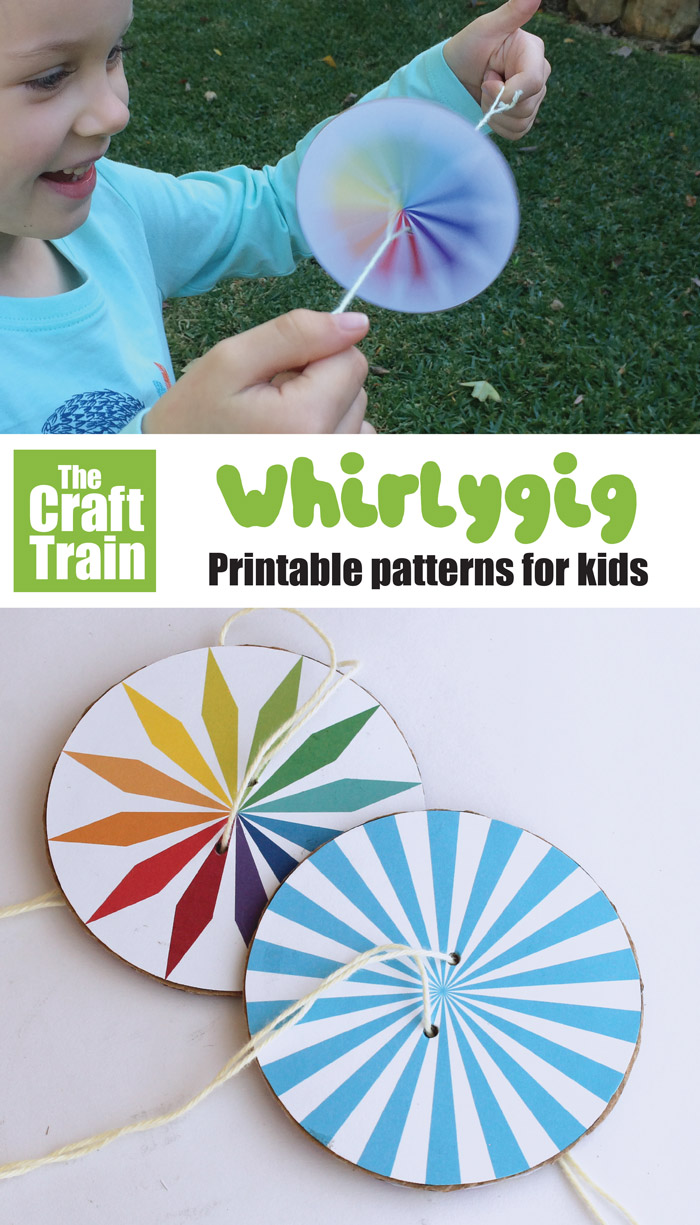 DIY spinner craft for kids. Make a whirlygig and watch the patterns twirl and whirl with this printable STEM craft idea for kids. So much fun! THere are multiple different patterns to choose from plus a design-your-own option with on our free template #kidscrafts #whirlygig #printablecrafts #creativefun #stem #steam