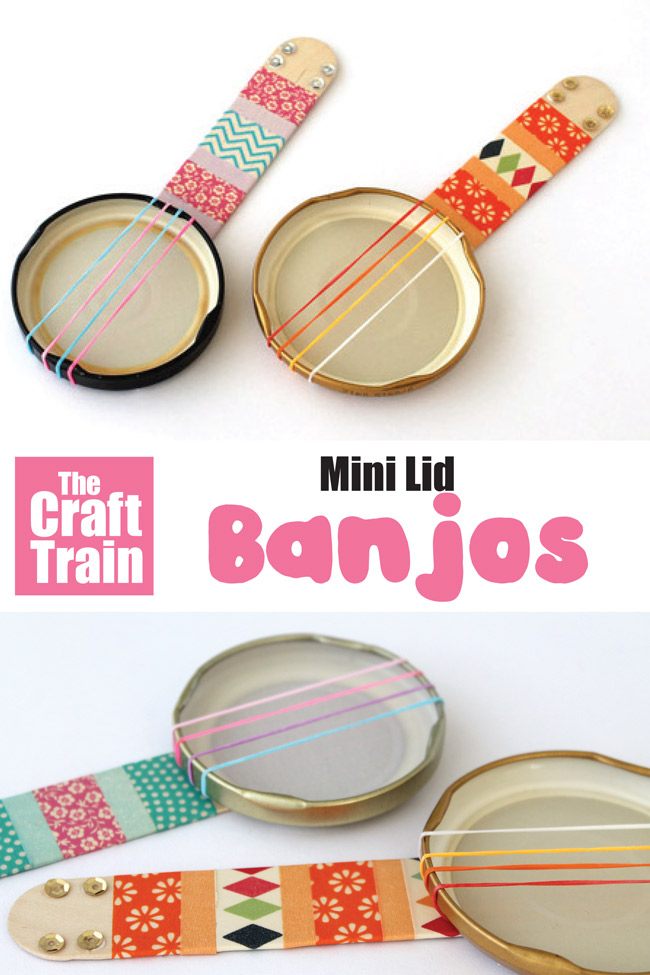 Mini lid banjo craft idea for kids. Use old jar lids, loom bands and crafts sticks to make the cutest miniature banjos. This is a fun and easy stem craft for kids #stem #steam #banjo #musicalinstruments #kidscrafts