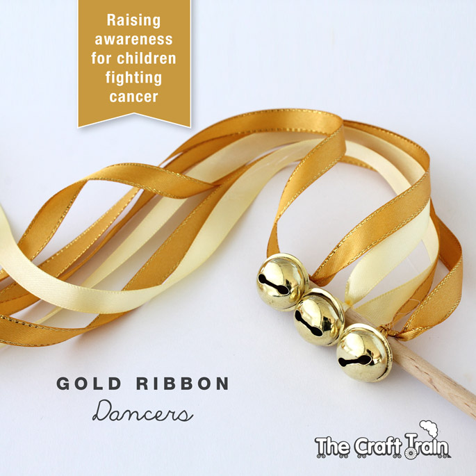 Gold ribbon dancer for childhood cancer awareness