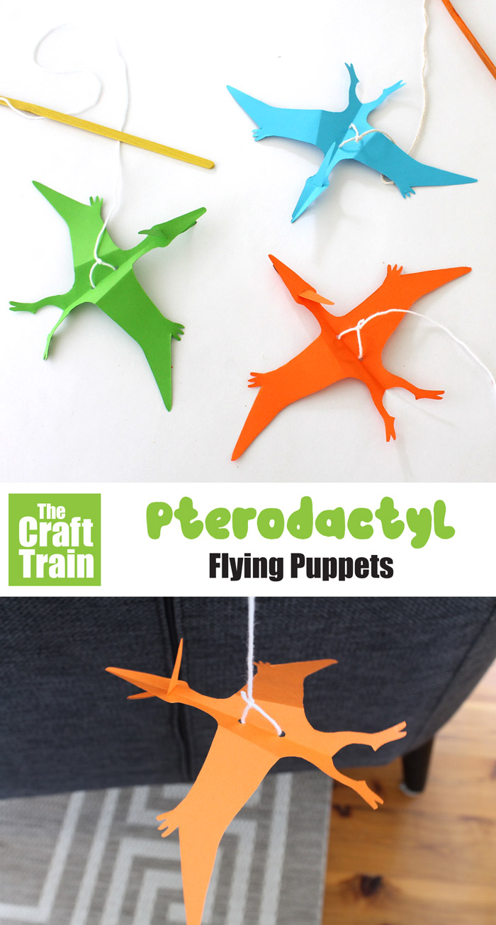 paper pterodactyl puppet - make paper puppet that flies on a string in the shape of a flying pterodactyl