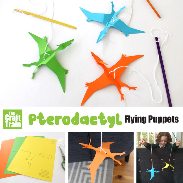 paper dinosaur craft idea for kids – make a flying pterodactyl puppet on a string