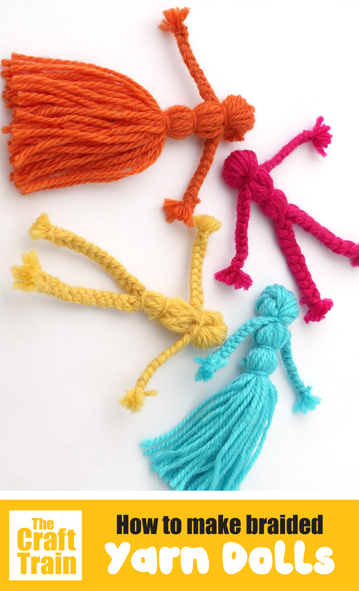 How to make braided yarn dolls, a fun and easy yarn craft for kids