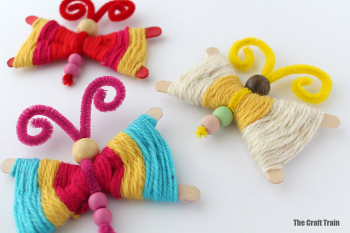 Fun yarn butterfly craft for kids