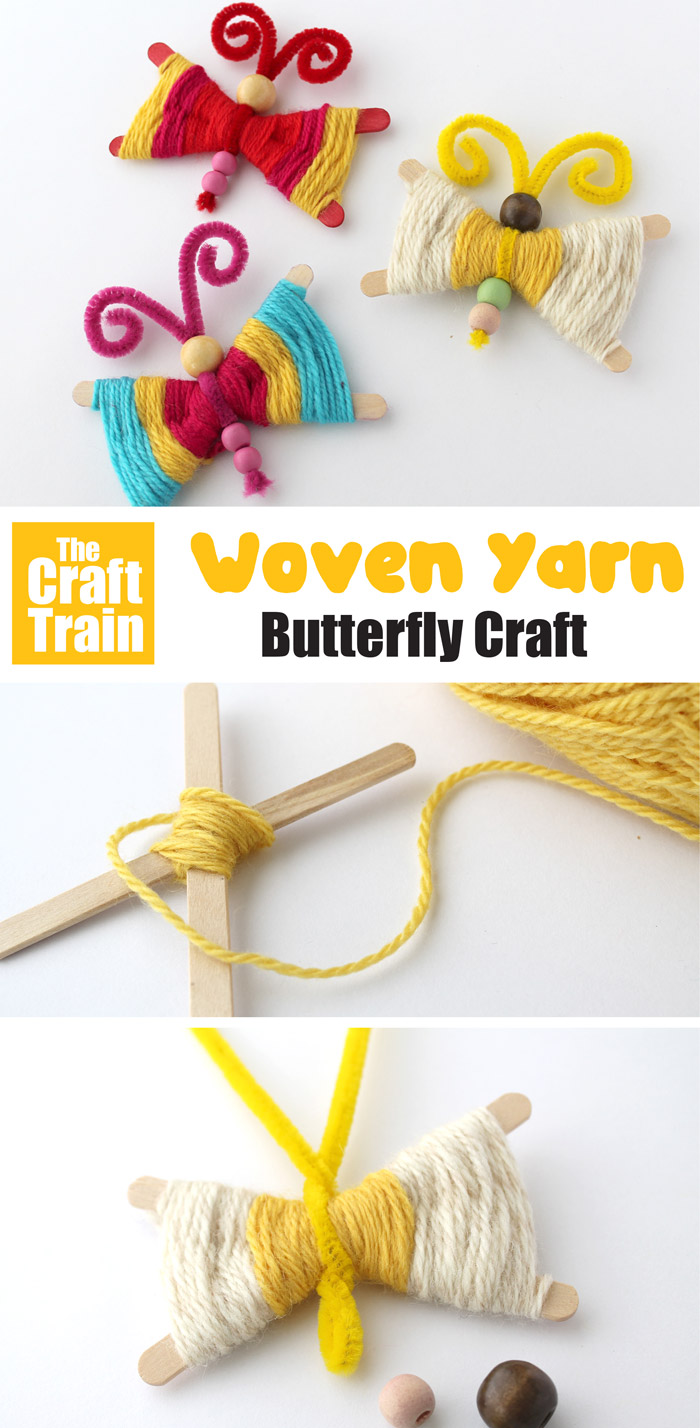 yarn butterfly craft for kids using a simple weaving technique