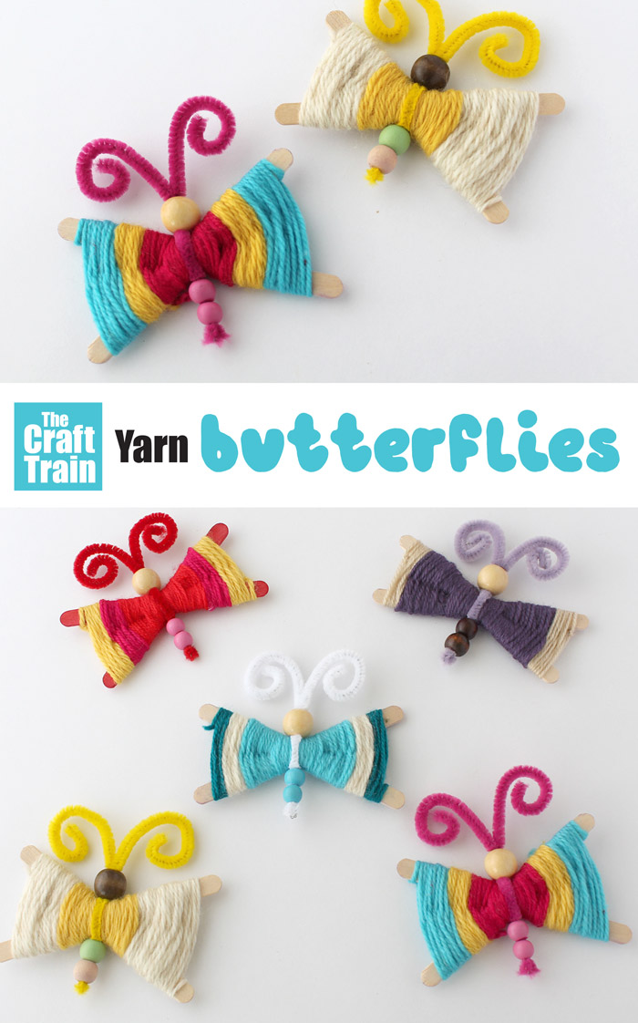 simple woven butterfly craft for kids made from craft sticks and yarn