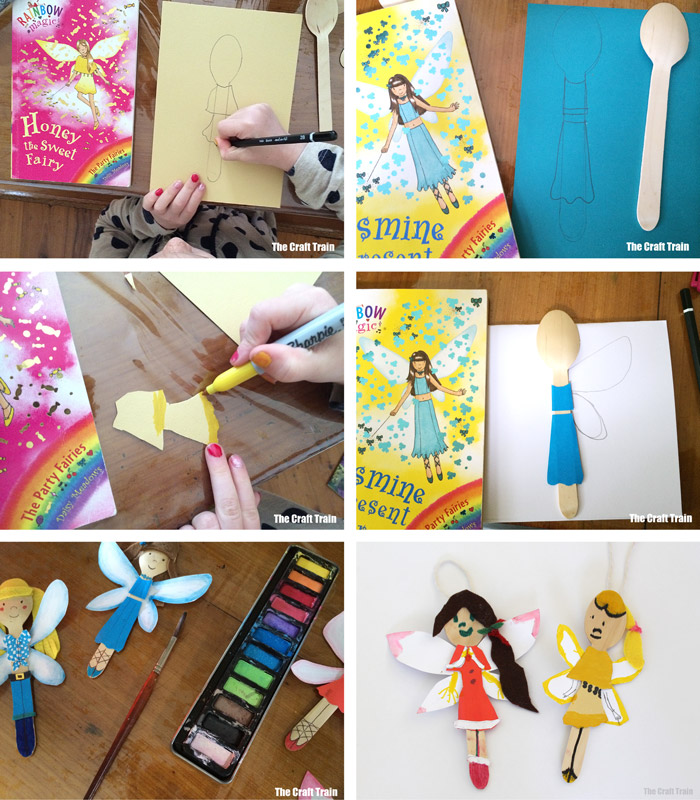 steps to create spoon doll fairy ornaments based on the Rainbow Magic book series