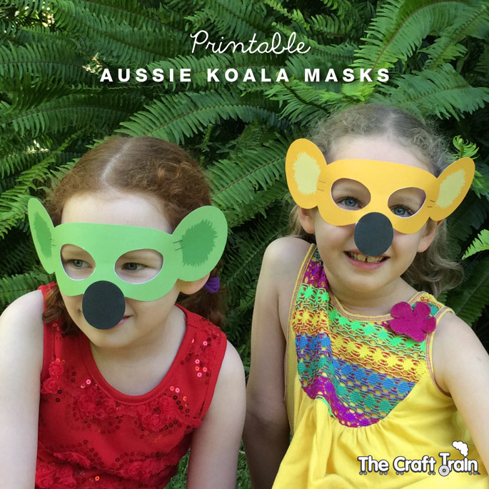 free printable koala masks in gold, green, grey or colour your own!