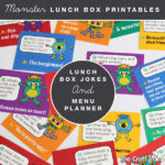 Printable monster-themed lunch box jokes and menu planner