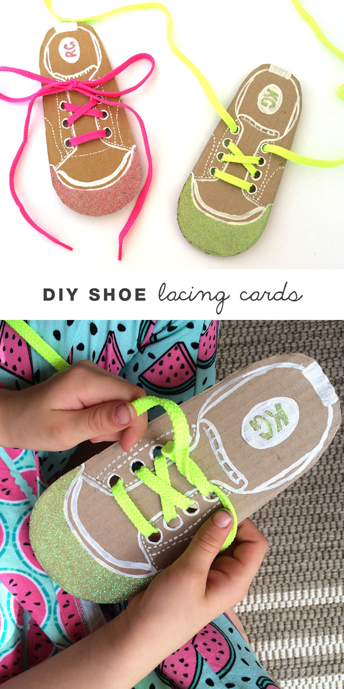 Create Easy DIY Lacing Cards To Help Kids Learn Tie Their Own Shoelaces