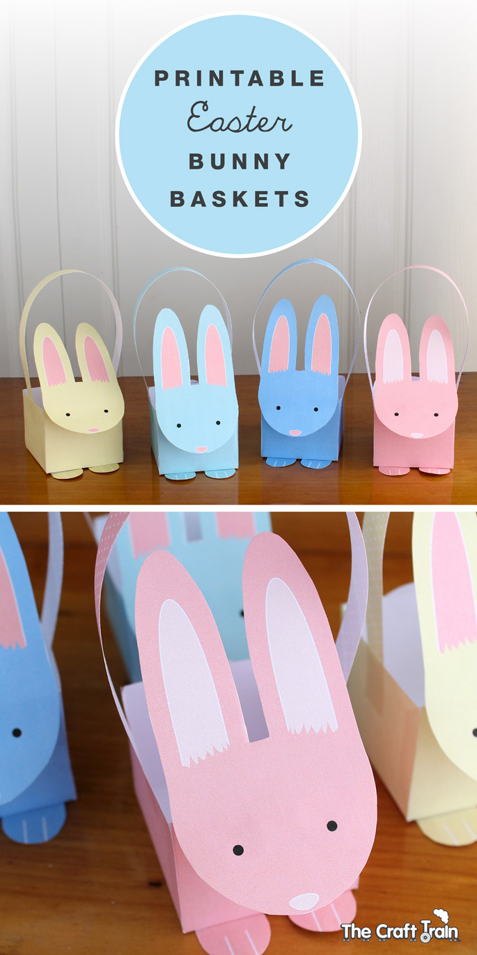 Printable easter bunny baskets the craft train free pastel bunny basket printables negle Images