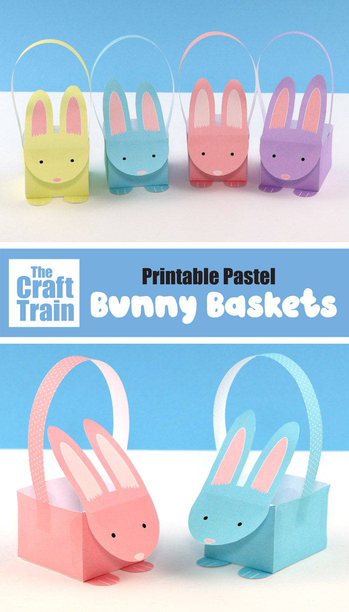Printable Easter bunny baskets in pastel shades. Free template including a black and white line art version