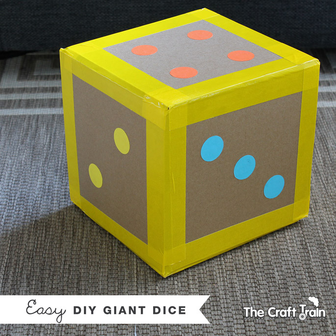 Easy diy giant dice the craft train for Large cardboard cut out numbers