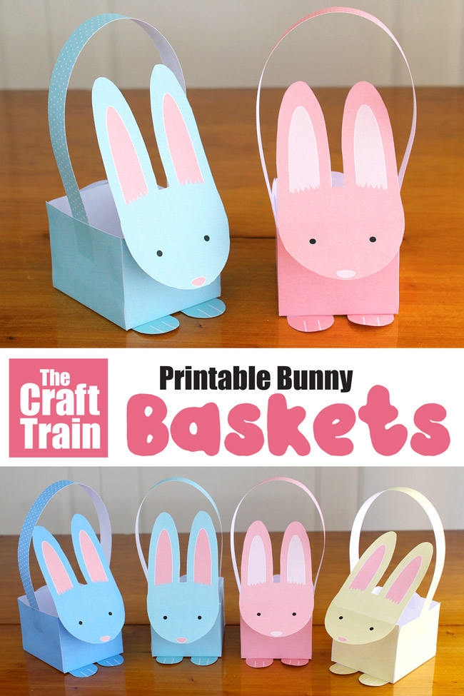 Printable paper bunny baskets. This is a fun and easy printable Easter craft that kids can make – comes in both full colour and line art so kids can colour their own #easter #printables #easterbunnies #baskets #craftsforkids