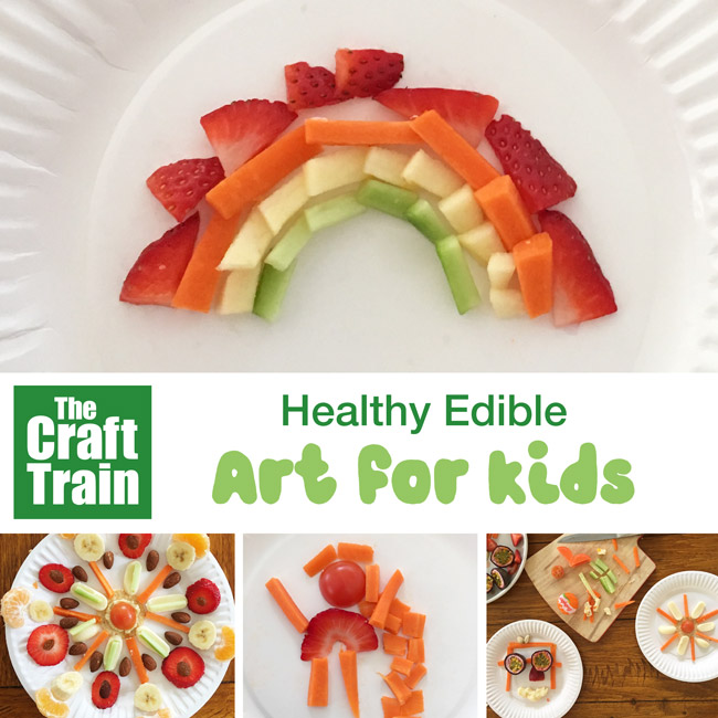 Healthy edible art activity for kids. This is a great way to encourage fussy eaters to touch and try new foods. Making art on their own plate is calming so picky eaters will be more open to trying new things. They end up with a fabulous and healthy artwork they can eat! #healthyeating #fussyeating #edibleart #kidsactivities #cookingwithkids #kidsfood