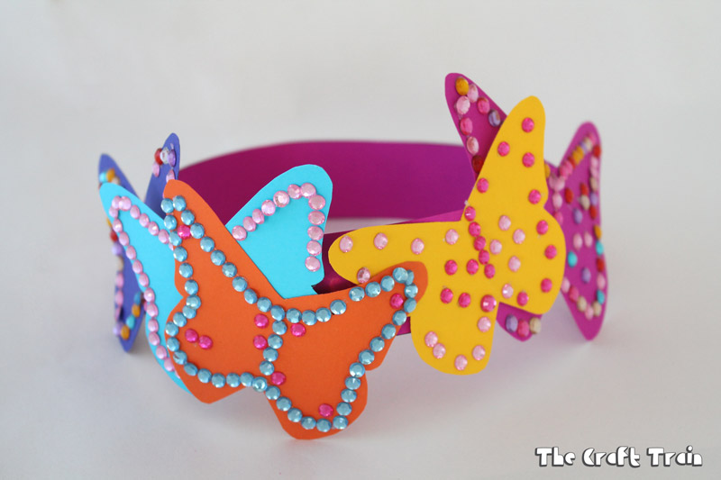 Kid-made butterfly tiara from paper
