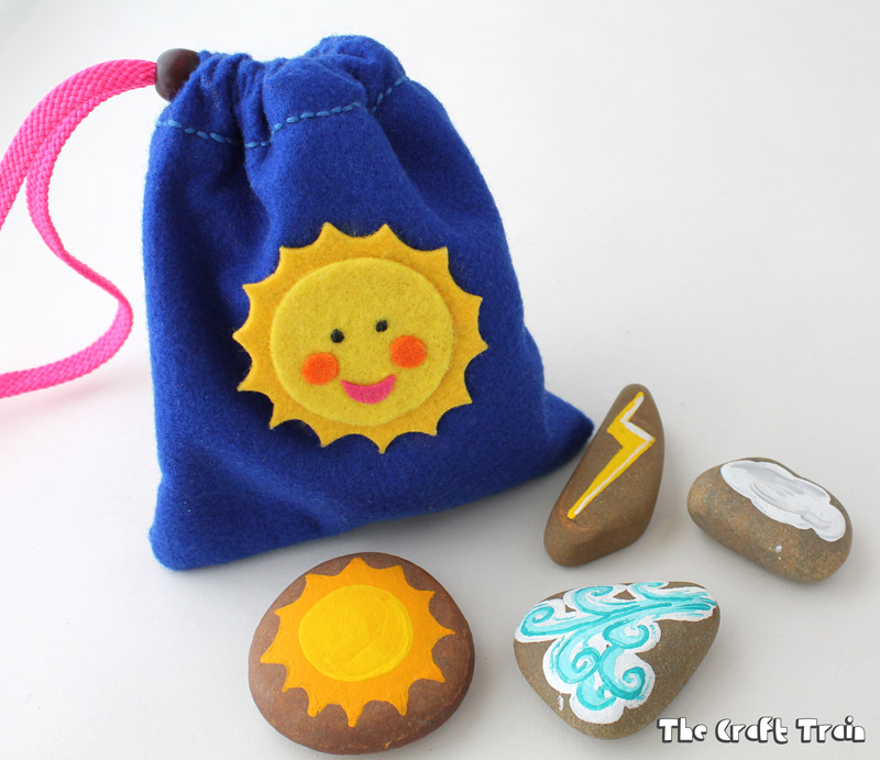 Story stones craft with a weather theme