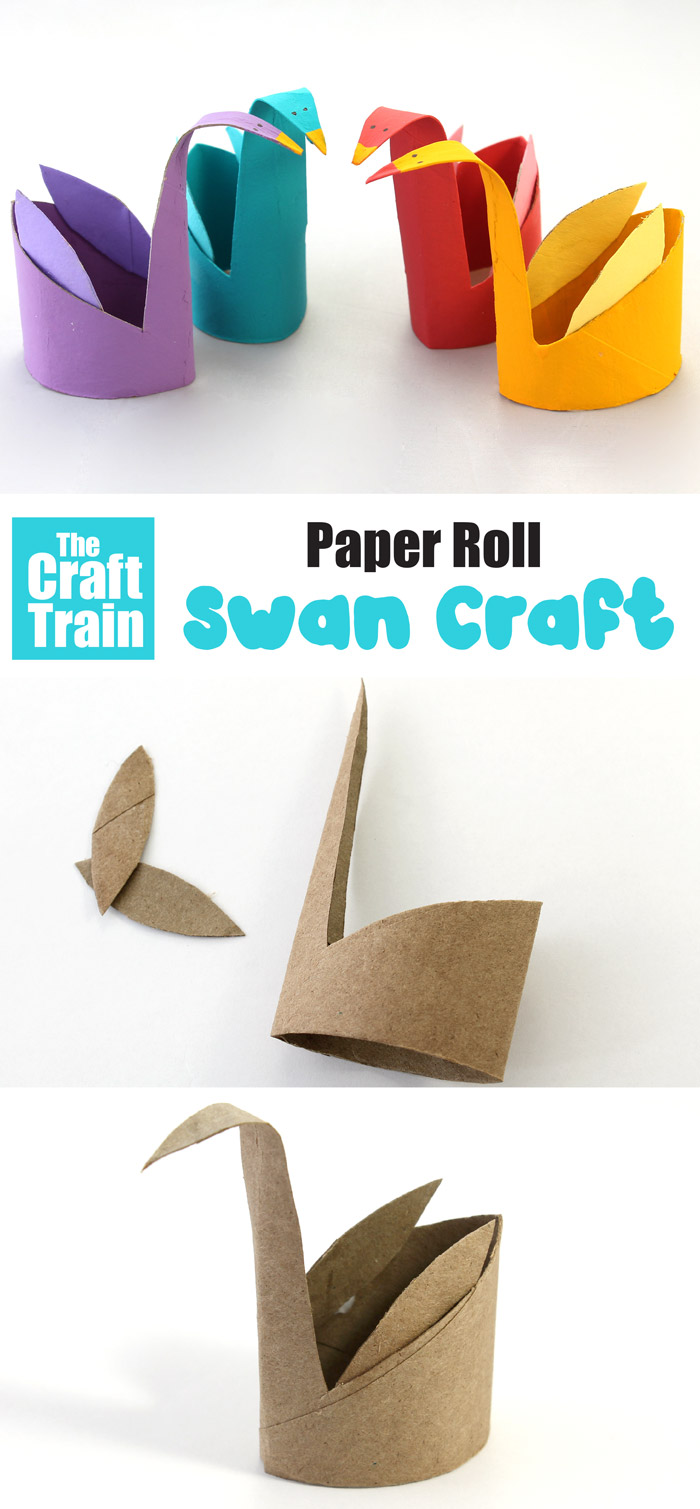 Easy swan craft for kids made from a paper roll