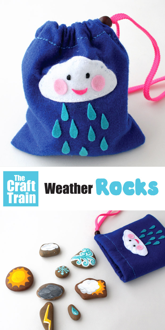 DIY toy made from rocks to help kids learn about weather. Hand painted rocks in a draw sting bag with printable pattern #weather #rockart #sewing #felt #rockpainting #stoneart