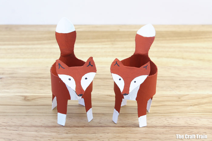 two paper roll foxes