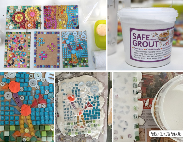 adding grout to tile mosaics