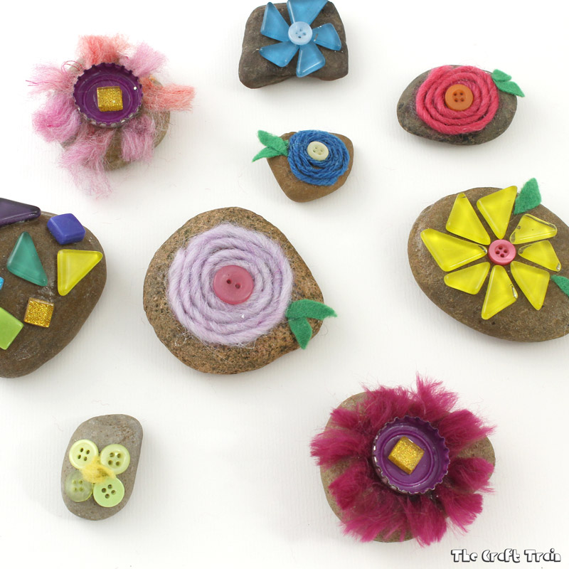 Mixed media flower rocks