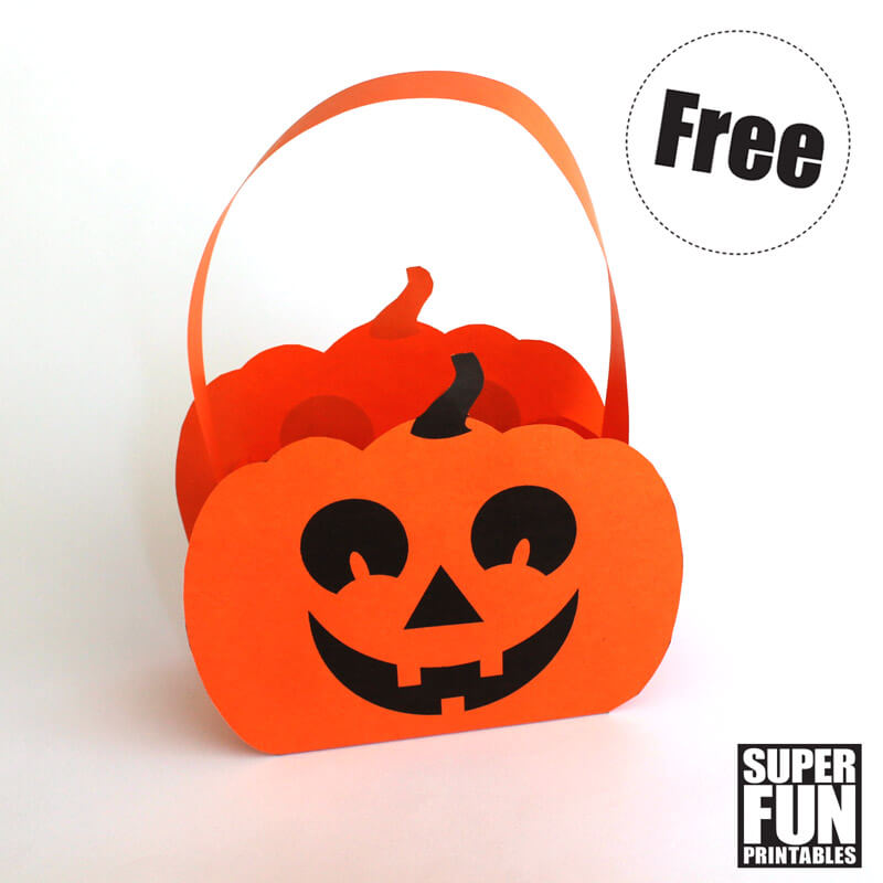 Paper pumpkin Halloween printable craft for kids