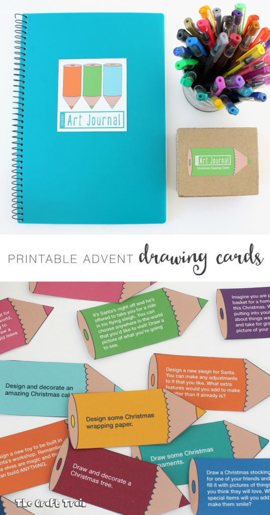 Advent art journal with free printable drawing prompt cards for kids. This makes a fun and easy advent calendar idea without the sugar or annoying novelty surprises.